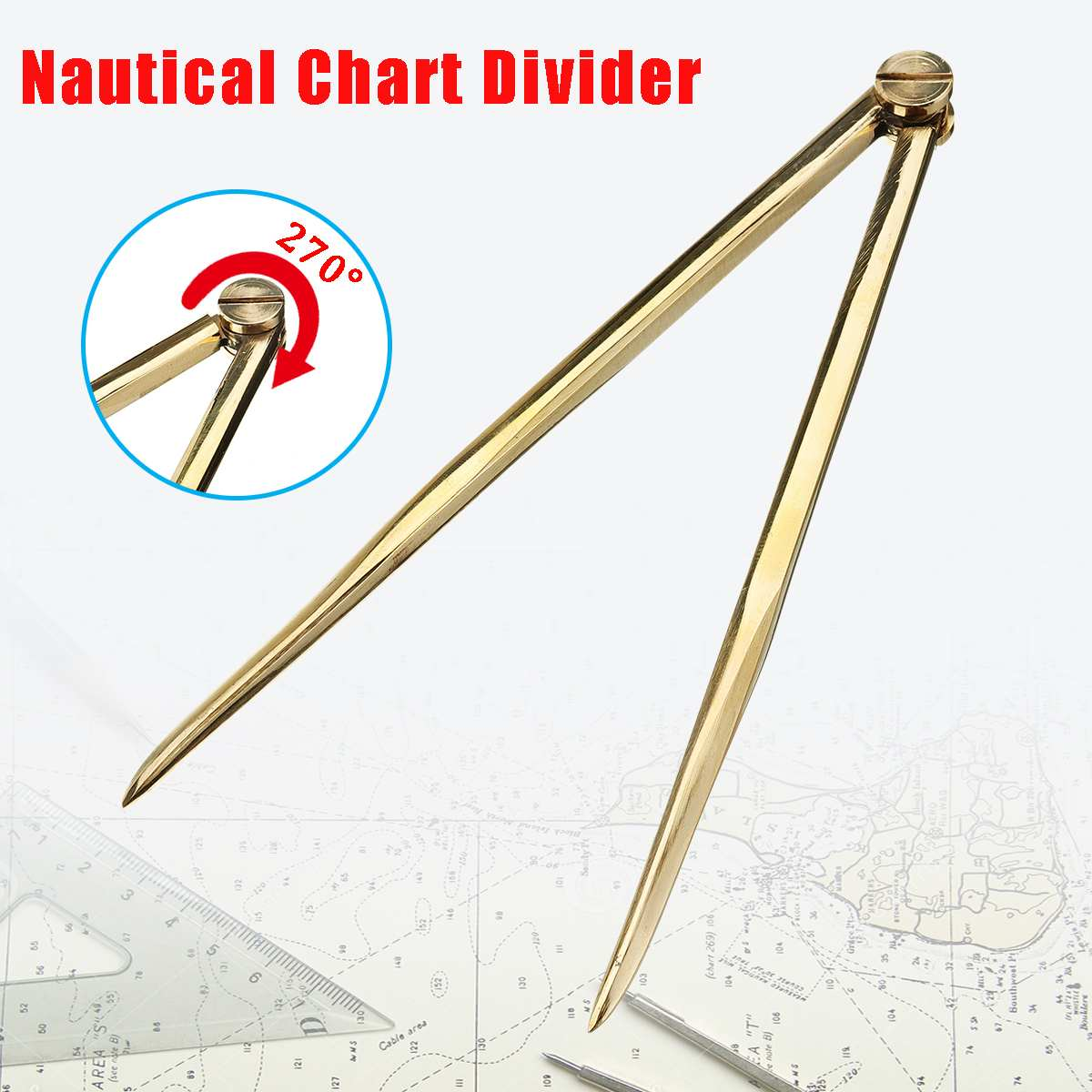 168mm Nautical Chart Straight Divider Solid Brass Marine Dividing Tool-Compass Portable No Rust For Architects Marine Navigation