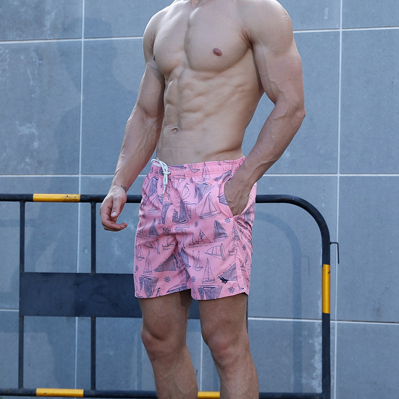Hot Men's Pink Print   Board     Shorts   Quick Dry Beach   Shorts   Gay Surfing Bermuda Beach Pants XXL Swim   Short   Men Boardshorts