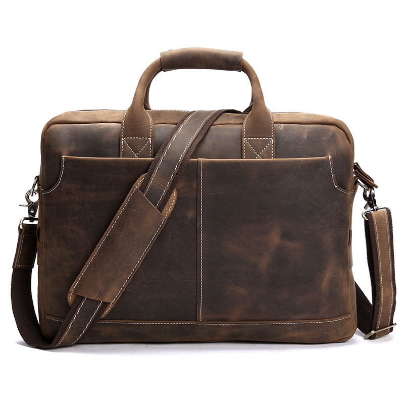 Vintage Crazy Horse Leather Men Briefcases Business Bag Tote Genuine Leather 15.4