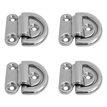 4 Pcs Universal High Polished 316 Stainless Steel D ring Deck Folding Pad Eye Lashing Tie Down Cleat For Yacht/Boat