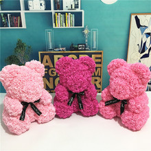 PE Plastic Artificial Flowers Rose Bear  Foam Flower Teddy Valentines Day Gift Birthday Party Spring Decoration
