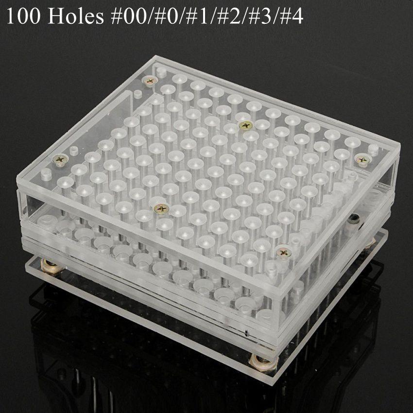 100 Holes Manual Capsule Filling Machine Pharmaceutical Pills Maker Filler for DIY Herbal Capsule Acrylic 00