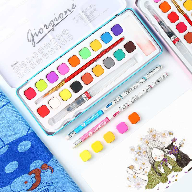 18/24 Colors Professional Watercolor Travel Set With 2 Brushes Artist Drawing Portable Soild Watercolor Set School Art Supplies18/24 Colors Professional Watercolor Travel Set With 2 Brushes Artist Drawing Portable Soild Watercolor Set School Art Supplies