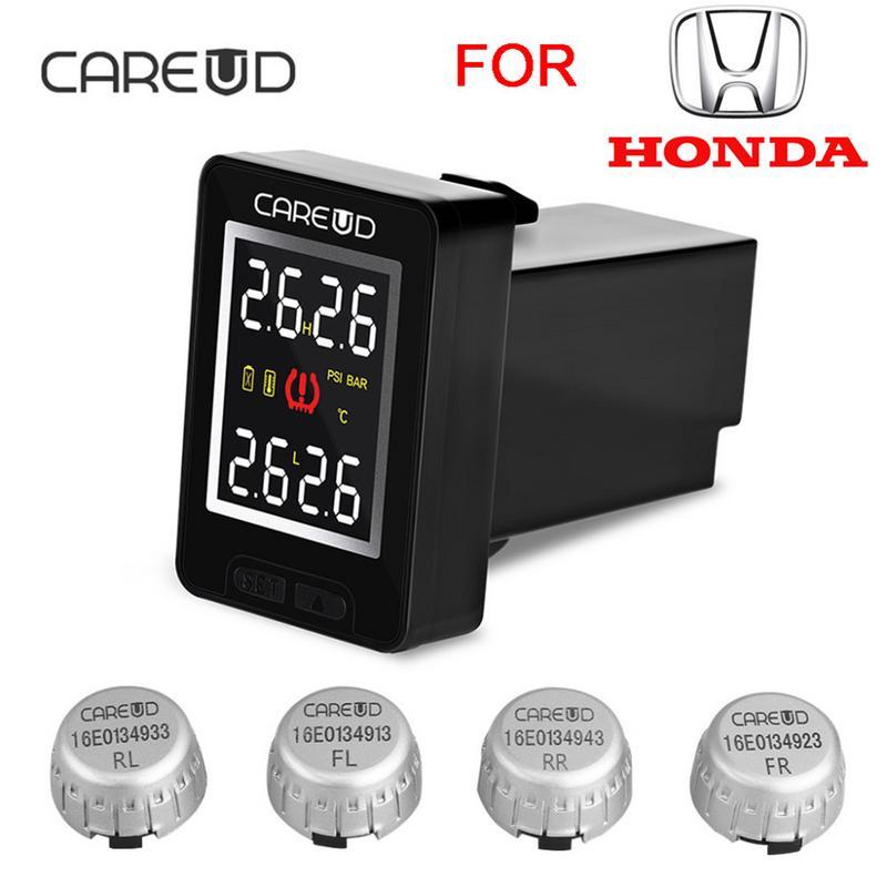 Système de surveillance de pression des pneus TPMS sans fil pour voiture CAREUD U912 avec 4 capteurs externes écran LCD moniteur intégré pour Honda