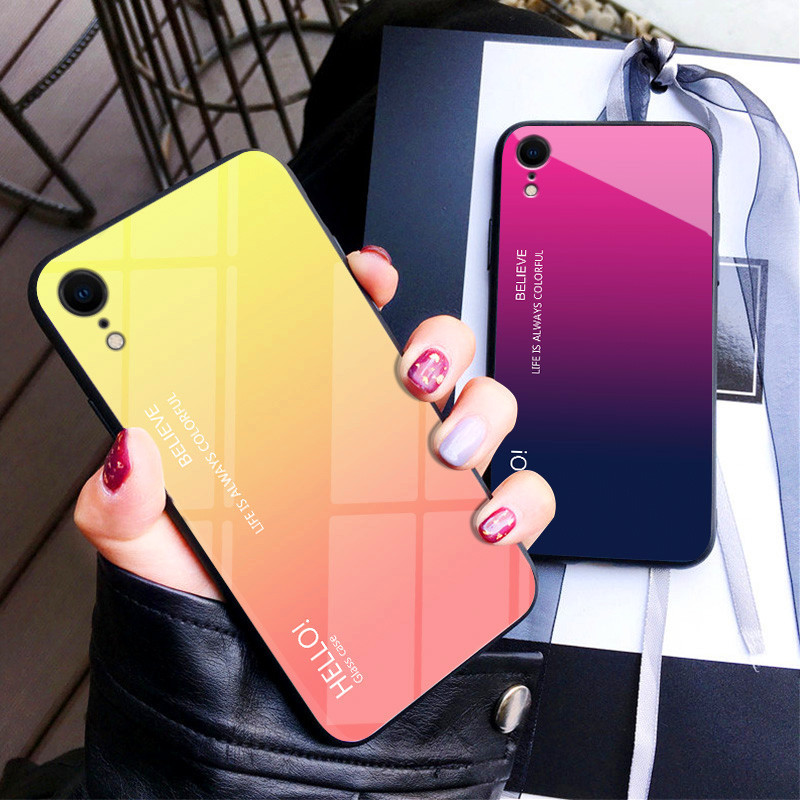 For iPhone 8 Luxury Glass Phone Case for iPhone XR XS Max Case Gradient 9H Tempered Glass Case for X 7 6 S 6s Plus Cover Coque in Half wrapped Cases from Cellphones Telecommunications