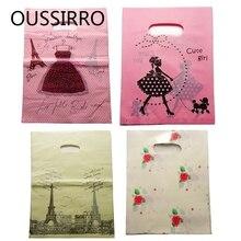 48-50Pcs Fasion Girls Kawaii Plastic Packaging Bags For Jewelry Shopping Bags With Handle Gift Bag 9*15CM Bolsas De Regalo