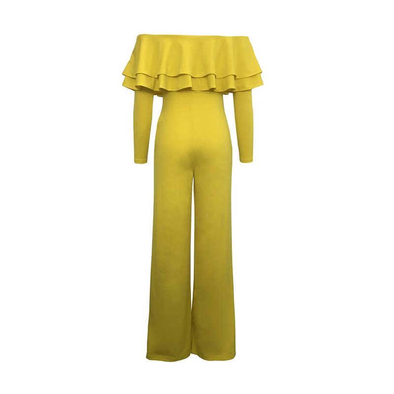 Women Jumpsuits Casual Sexy Club Beach Holiday OL Ladies Summer Slim Thin Wide Legs Ruffles Strapless Female Yellow Rompers