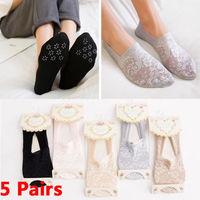5 пар, женские кружевные носки, невидимые Нескользящие нескользящие носки с нескользящей подкладкой, модные хлопковые носки с кружевом