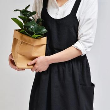Delle donne Biancheria di Cotone Grembiule Senza Maniche Grembiule del Vestito Per La Casa di Cottura Fiorista Cafe Cucina Barbecue di Cottura Grembiule Con Tasche