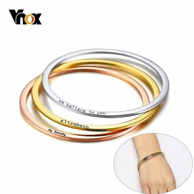 Vnox Stylish Personalize Bangle for Women Thin Stainless Steel Cuff Bracelets Name Fashion Lady Streetwear Jewelry