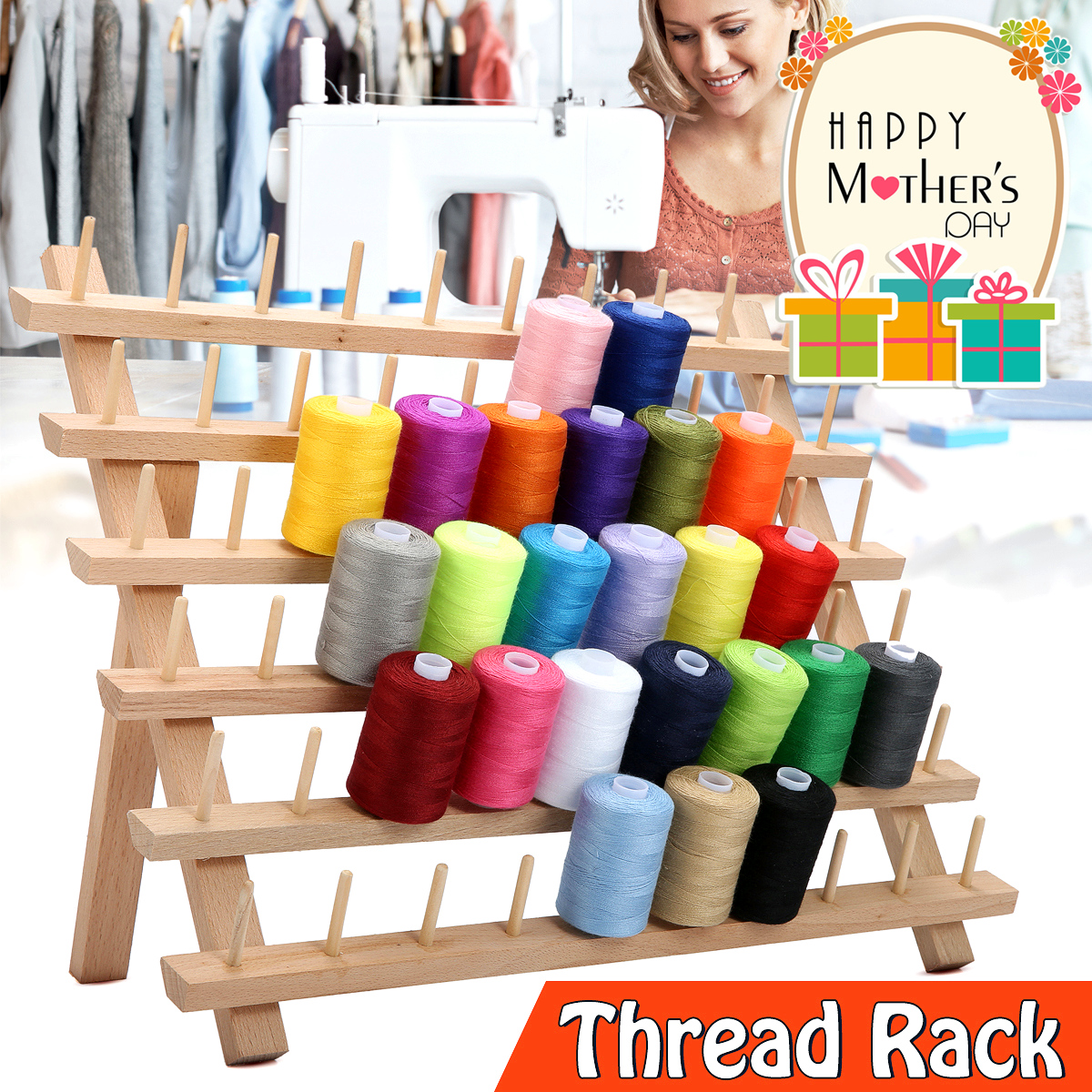 KiWarm Foldable Wood Thread Stand Rack Holds 60 Spools Organizer Embroidery Machine Sewing Storage Holder Sewing Accessories
