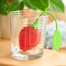 1Pc Red Strawberry Shape Tea Infuser Reuseable Food Safe Silicone Tea Leaf Bag Holder Tea Coffee Herbal Punch Filter Diffuser(China)