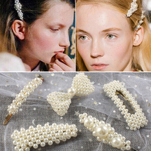 2019 New Fashion Women Pearl Hair Clip Snap Hair Barrette Stick Hairpin Hair Styling Accessories For Women Girls Dropshipping ubuhle fashion women full pearl hair clip girls hair barrette hairpin hair elegant design sweet hair jewelry accessories 2019