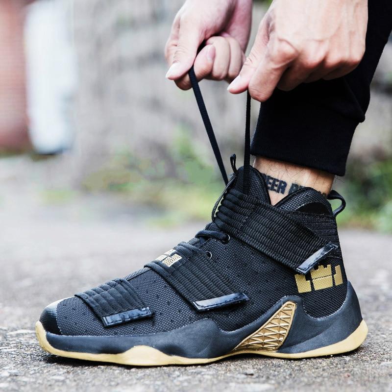 Turnschuhe Plus Größe 36-45 Basketball Schuhe Für Männer Frauen Herbst 2018 Neue Ankunft Weiß Gold Lebron James High Top Sport Schuhe Korb Homme Sport & Unterhaltung
