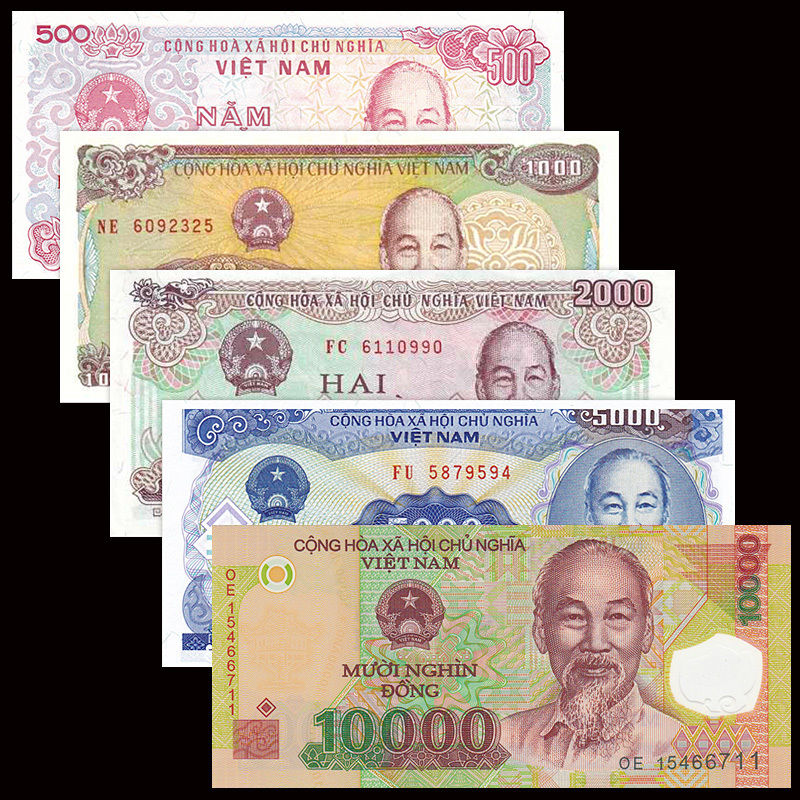 Vietnam Viet Nam 5 PCS Banknotes Set 500+1000+2000+5000+10000 Dong UNC, Asia, Collection, Gift, Genuine, Original Paper Notes