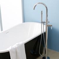 Chrome Polished Floor Mounted Bathroom Tub Faucet Tub Portable Rotation Bathtub Shower Sprayer Single Handle Bathtub Mixer Taps