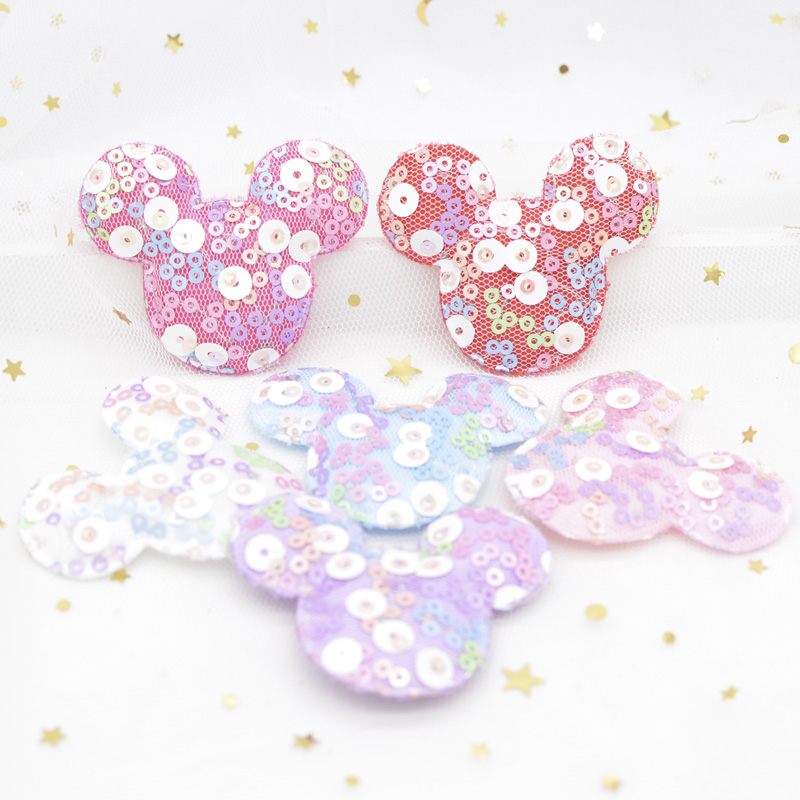 12Pcs 55*45mm Kawaii Mickey Mouse Appliques With Sequins Embroider Pads Patches For Clothes Baby Headwear Hairpin Band Decor G32