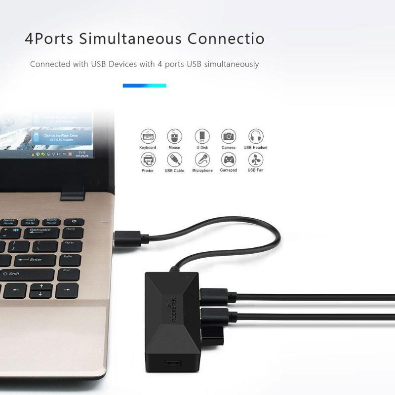 Rocketek Высокое качество multi usb 2,0 концентратор 4 порты и разъёмы адаптер разветвитель для iMac MacBook Air pc ноутбук интимные аксессуары