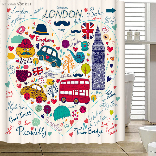 London Cartoon Printing Shower Curtain Red Double Decker Bus Telephone Booth Big Ben Polyester