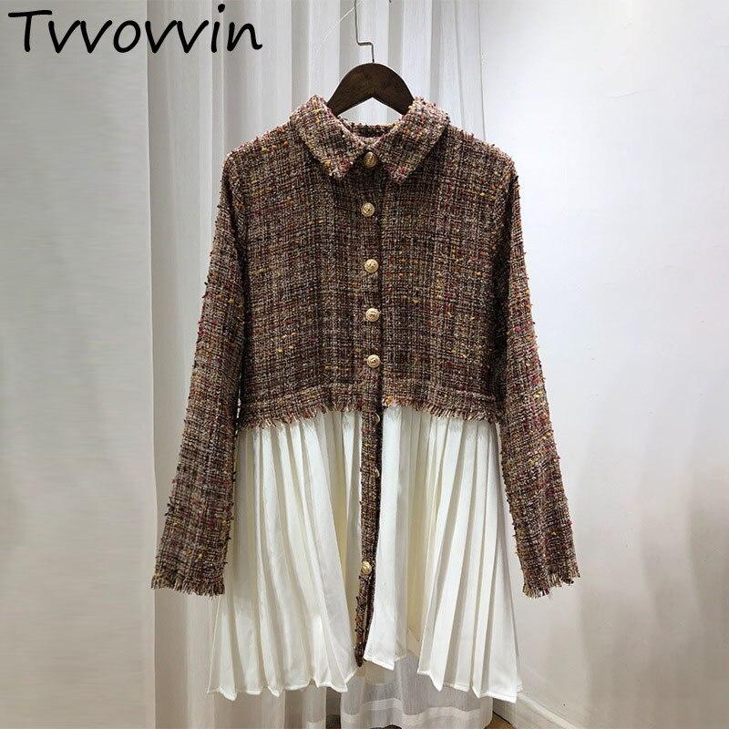 TVVOVVIN 2019 New Autumn Turn Down Collar Tweed Patchwork Pleated White Hem Female s Long Sleeve
