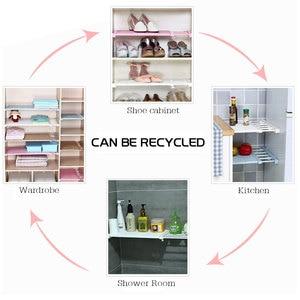 Image 3 - Adjustable Closet Organizer Storage Shelf Wall Mounted DIY Wardrobe/Clothes/Kitchen Storage Holders Racks Plastic Layer/Dividers