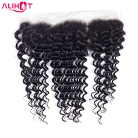 Ali Hot Brazilian Deep Wave Lace Frontal Closure 10 20 Inch Free Part Non Remy Human Hair 13x4 Ear To Ear Closure