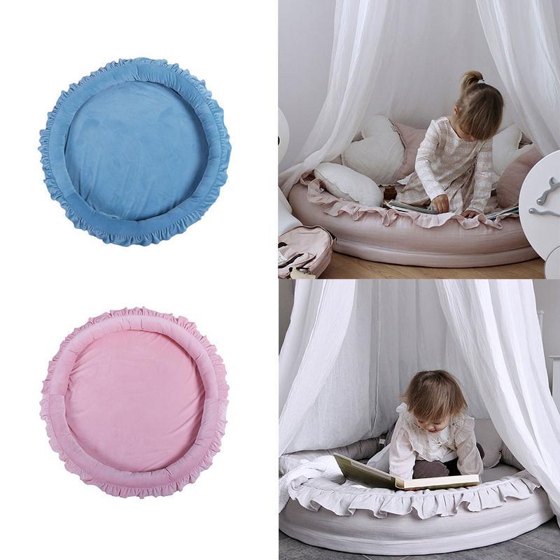 Bébé multi-fonctionnel tapis rampant grand rond bébé couverture de couchage lit chambre d'enfants dentelle jeu jouer coussin berceau