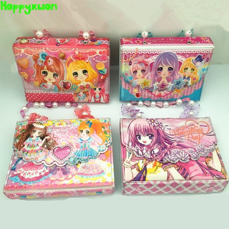 Happyxuan Reusable Kwaii DIY Sticker Collecting Book Scrapbooking Album Baby Cartoon Handbags Design Toy For Girl Kids Education