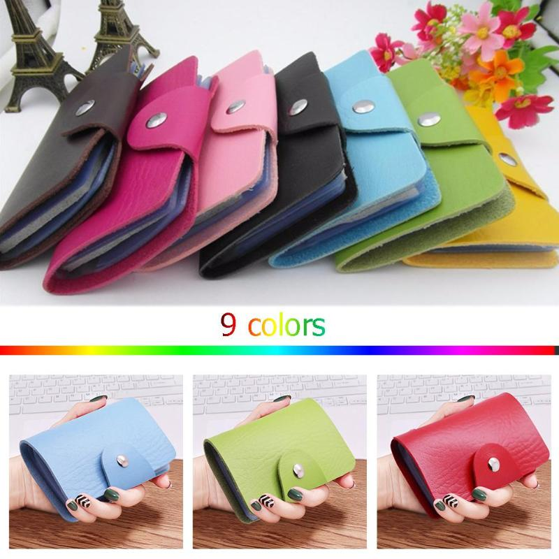 Solid Color Small Clutch Women Men Daily PU Leather 24 Slots Card Holder Wallet Simple Unisex Business Credit Cards Bags