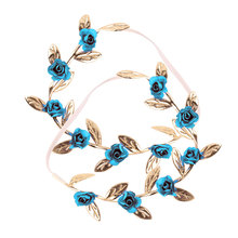 Floral Hairband Kids Hair Accessories Baby Girls Rose Flower Wreath Hair Rope Princess Crown Headband 2017 new 10pcs lot beach hair accessories kids flower headband bohemian style wreath garland girls birthday party hairband