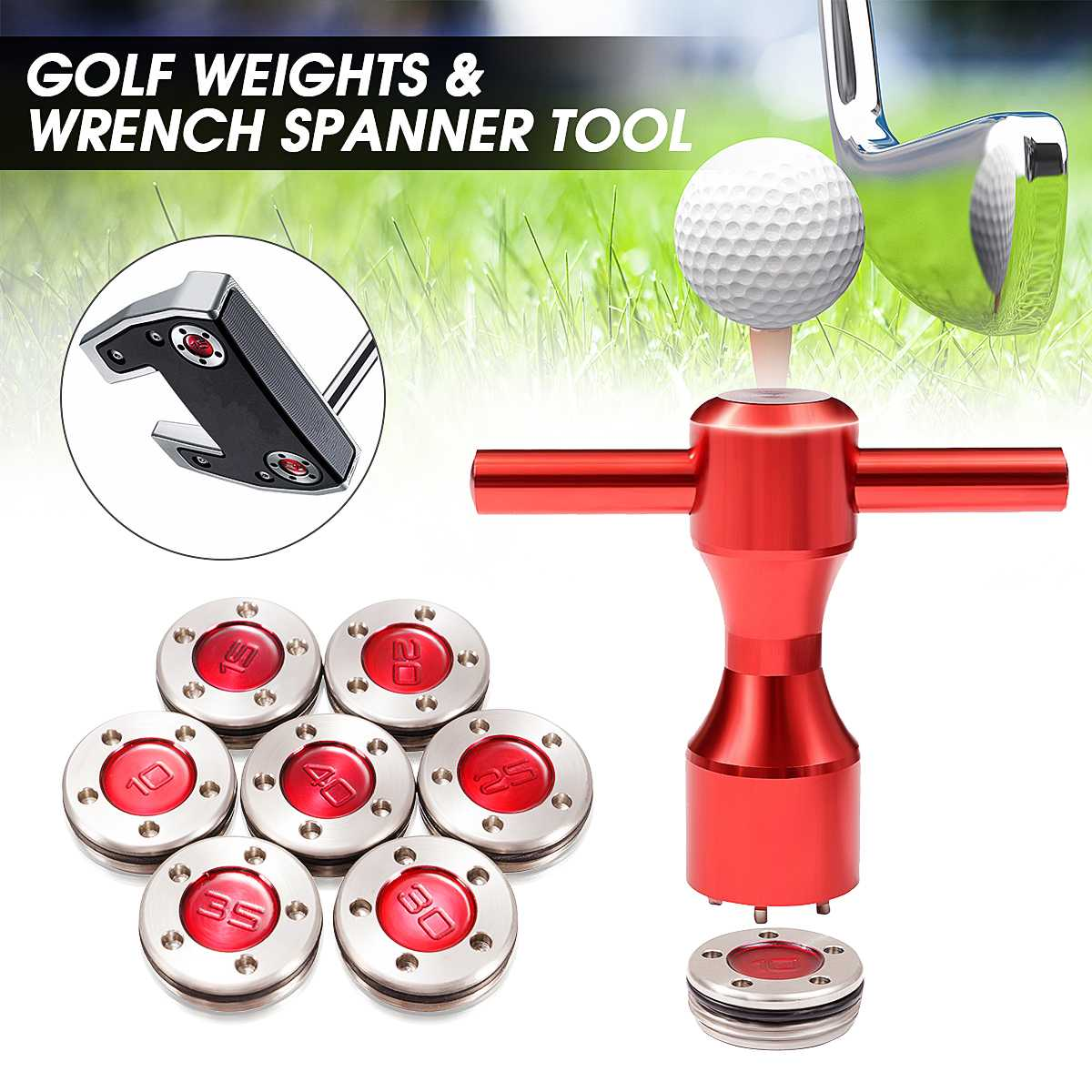 2Pcs Red Golf Weights + Wrench Spanner Tool For Titleist-Scotty-Cameron Putters 10g/15g/20g/25g/30g/35g/40g Include Rubber Rings