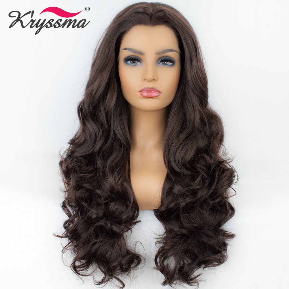 Synthetic Lace Front Wig 24 Inches Widow's Peak Long Brown Wavy Wigs For Women 150% Density Natural Looking Middle Part Hair For