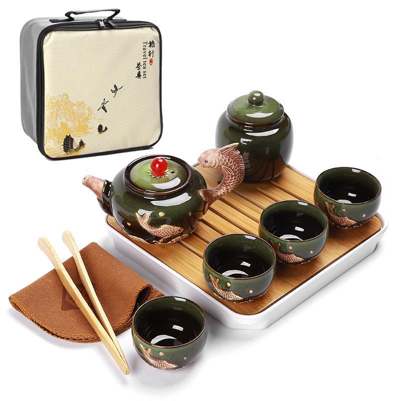 Chine thé Kung Fu Set Portable tasses à thé en céramique Caddies à thé bambou plateau à thé chinois cérémonie de thé Set cadeau pour ami