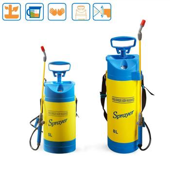 5L/8L Blue Shoulder Air Pressure Sprayer Small Watering Can Plastic Gardening Watering Flower Spray Home Pot Bottle