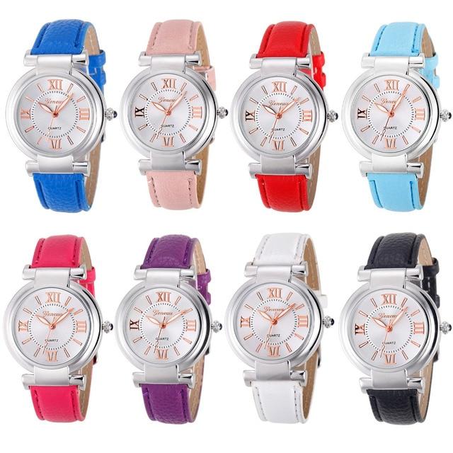 Geneva Women Roman Numerals Leather Band Quartz Wrist Watch Bracelet