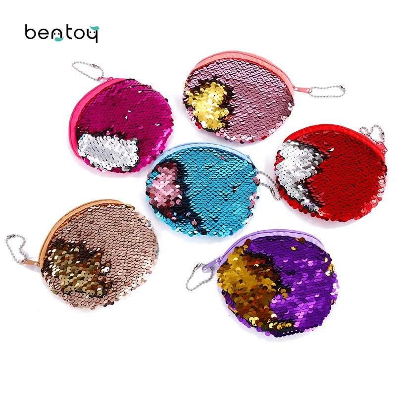 Portable Mini Round Sequins Coin Purse Bag For Women Plush Zipper Coin Pouch Kids Small Wallets Earphone Storage Key Wallet portable mini coin purse pu eva box for coins earphone headphone sd tf cards cable cord wire storage key wallet bag coin purses