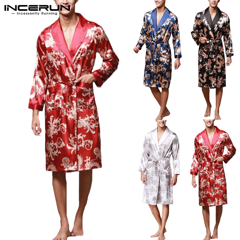 INCERUN 2019 Men Robes Nightgown Bathrobe Faux Silk Long Sleeve Chinese Dragon Print Pajamas Sleepwear Kimono Men Long Homewear(China)