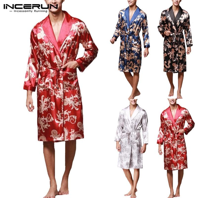 INCERUN 2019 Men Robes Nightgown Bathrobe Faux Silk Long Sleeve Chinese Dragon Print Pajamas Sleepwear Kimono Men Long Homewear