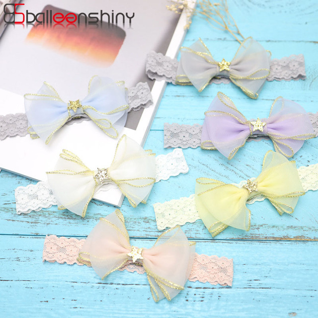 Balleenshiy Baby Girls Hair Accessories Infant Lace Bowknot  Lovely Headwear Gift Children Kids Princess Band Hair Accessory