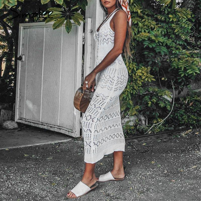 Simplee сексуальный о-вырез выдалбливают женщины длинное богемное пляжное платье crohect летнее пляжное платье без рукавов Дамы Белый миди 2019