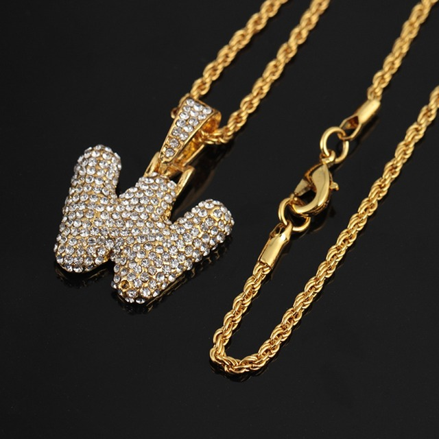 Zirconia Crystal A-Z Letters Pendant Necklace