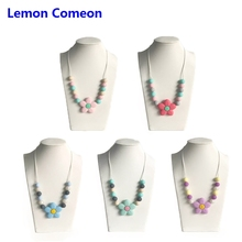 Lemon Comeon Baby Teether Necklace Flower Silicone Teething Pendant Round Beads Chew Toy Without BPA Free