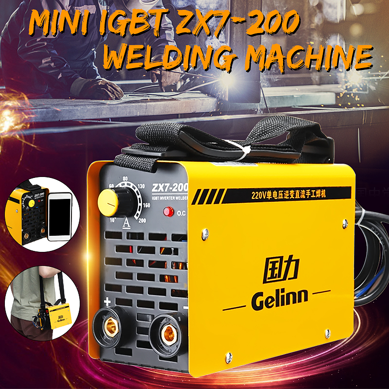 I 20-200Amp Portable Inverter Welder Welding Machine MMA ZX7-200 IGBT DC 220V for Welding Working and Electric Working 200amp 220v welding welder inverter dc electrode arc smaw stick rod igbt zx7 200t
