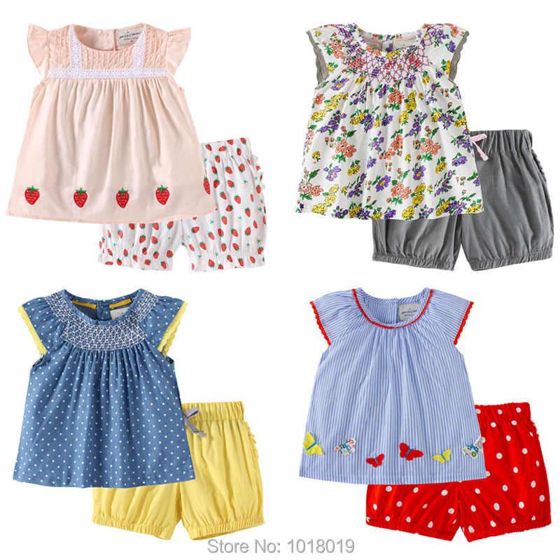 b40123e361d88 New 2019 Quality 100% Cotton Summer Baby Girls Clothing Set 2pcs Children  Suit Kids Clothes Short Sleeve Baby Girls Clothes Sets