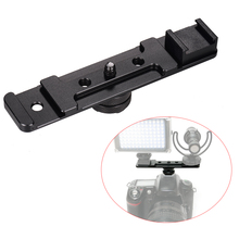 """1/4 """"parafuso monta dupla sapata quente barra de extensão suporte suporte flash suporte adaptador para flash speedlite led luz vídeo mic"""
