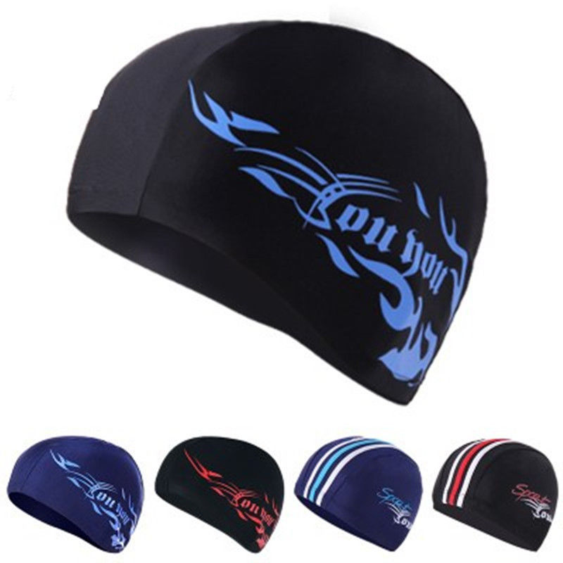 POLYESTER Adults Stretchy Swimming Hat Navy Blue White Thick Striped Hat