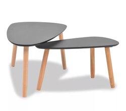 VidaXL Kaffee Tisch Set 2 Stück Massivem Kiefernholz Schwarz Dauerhafte Und Stabile Café Tische Dropshipping Zu Italien Frankreich Spanien