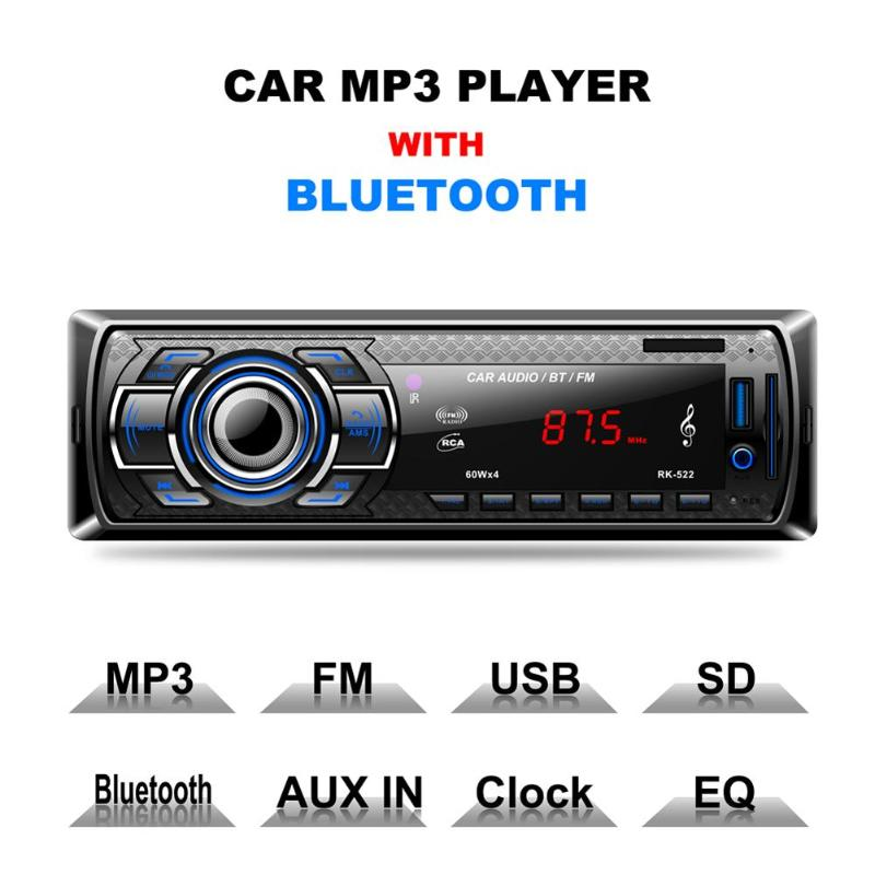 12V 1Din In-Dash MP3 Multimedia Player AUX-IN USB SD Card Car Radio Bluetooth Stereo Player Handsfree Built-in Speaker