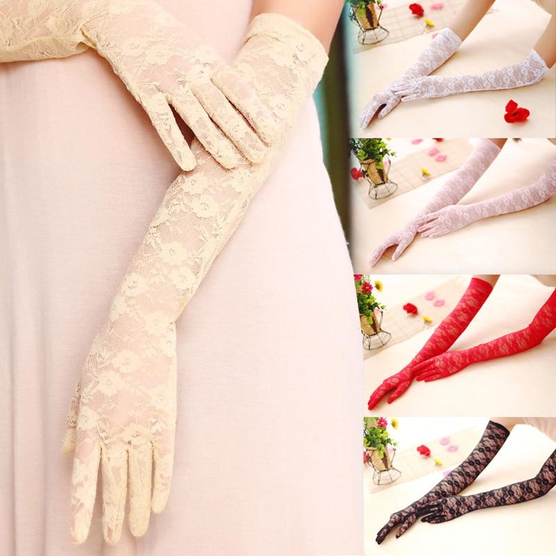 Ladies Summer Sunscreen Lace Elastic Gloves Sexy Transparent Driving Long Thin Gloves Mesh Liturgy Long UV Blocking 23 43 55 Cm