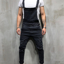 hirigin Designer 2018 Denim Carpenter Overalls Casual Loose Men's Hip Hop Jumpsuit